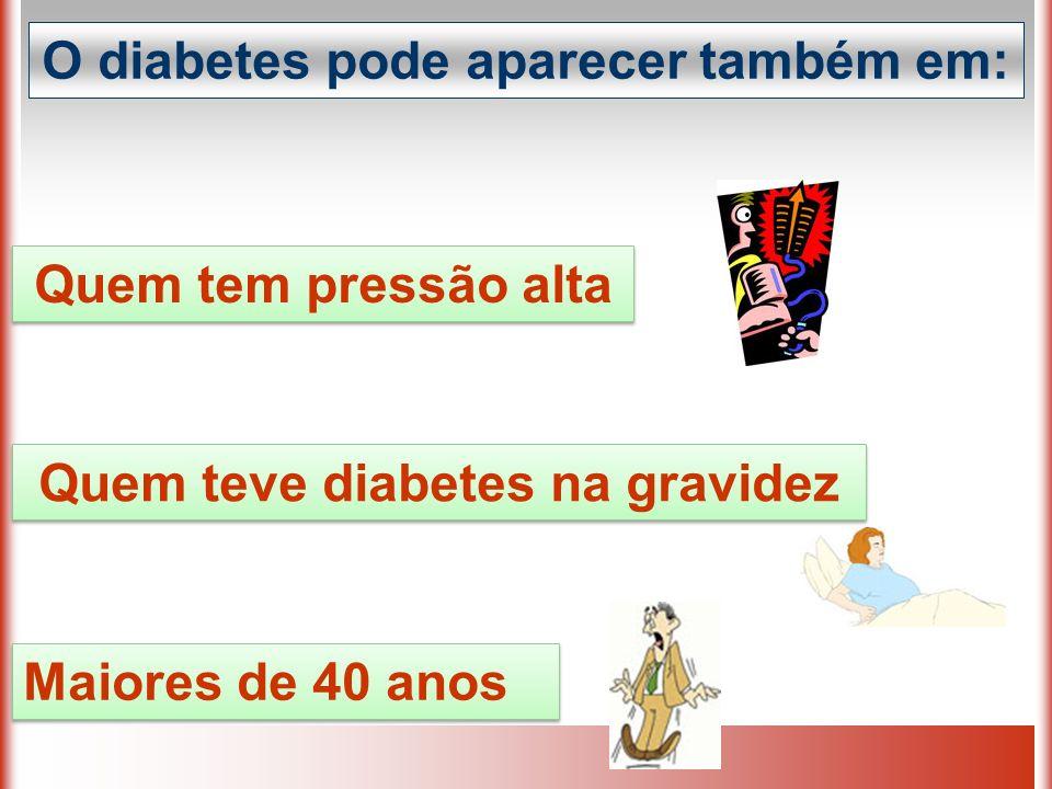 O diabetes pode aparecer também em: