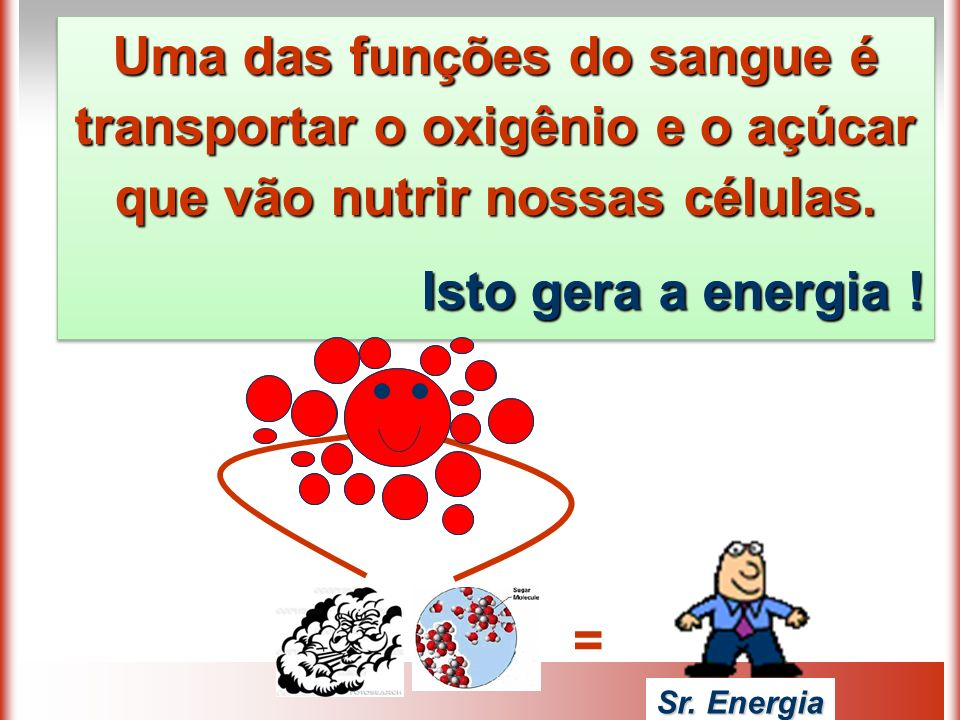 Uma das funções do sangue é transportar o oxigênio e o açúcar que vão nutrir nossas células.