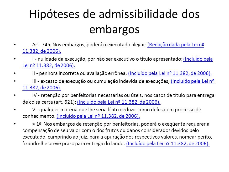 Hipóteses de admissibilidade dos embargos