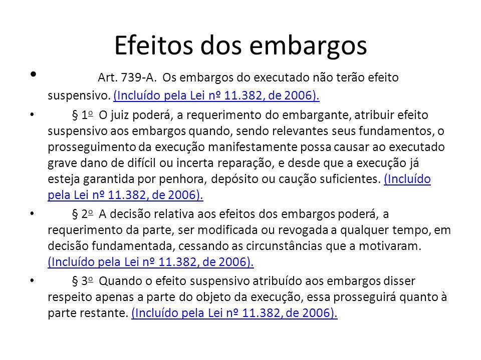 Efeitos dos embargos Art. 739-A. Os embargos do executado não terão efeito suspensivo. (Incluído pela Lei nº 11.382, de 2006).