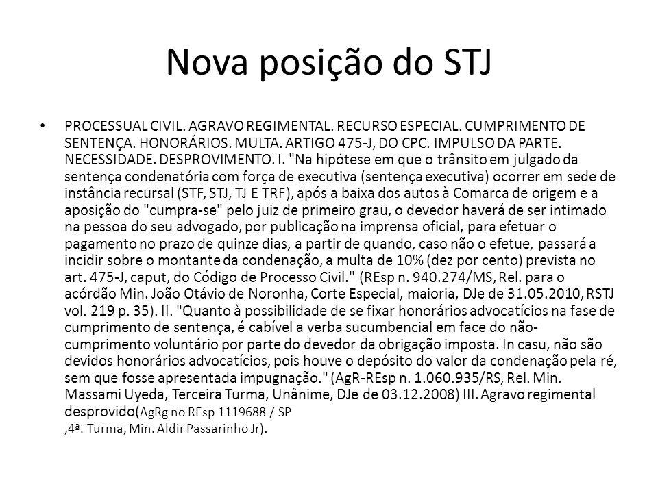 Nova posição do STJ