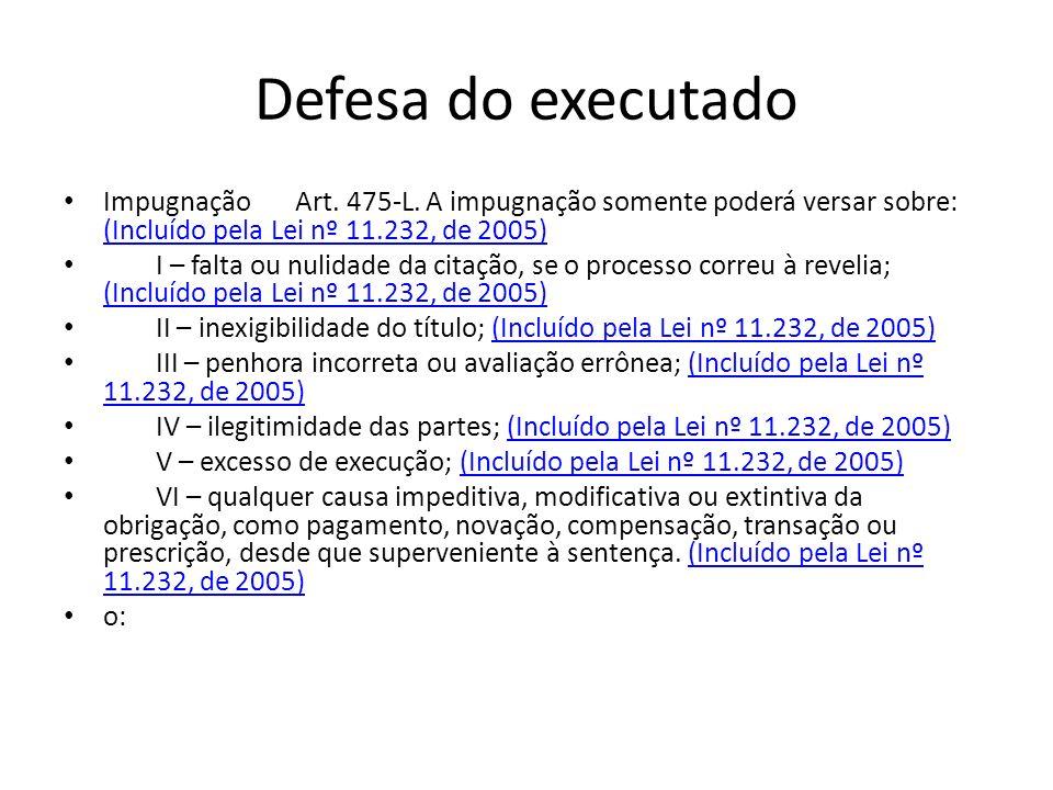 Defesa do executado Impugnação Art. 475-L. A impugnação somente poderá versar sobre: (Incluído pela Lei nº 11.232, de 2005)