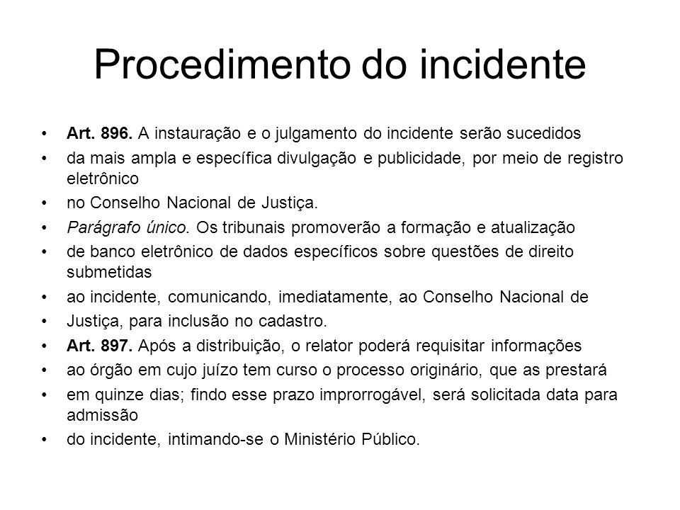 Procedimento do incidente