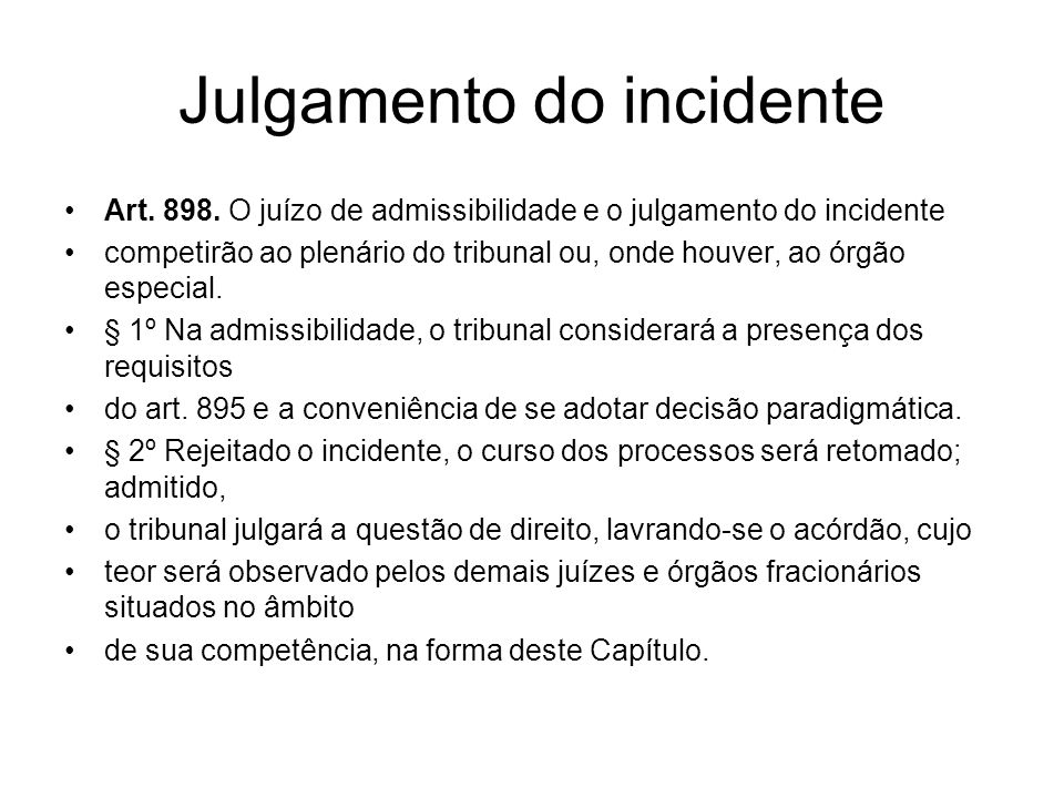 Julgamento do incidente