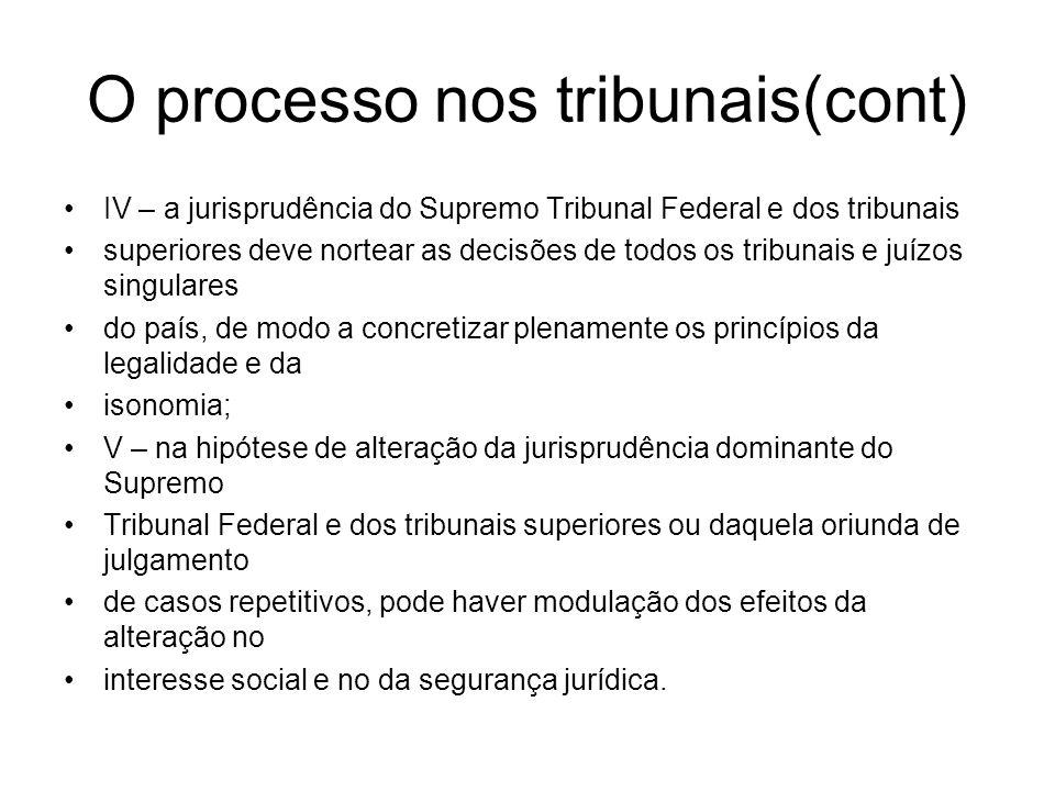 O processo nos tribunais(cont)