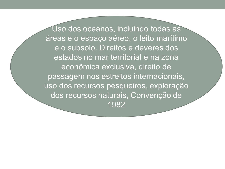 Uso dos oceanos, incluindo todas as áreas e o espaço aéreo, o leito marítimo e o subsolo.
