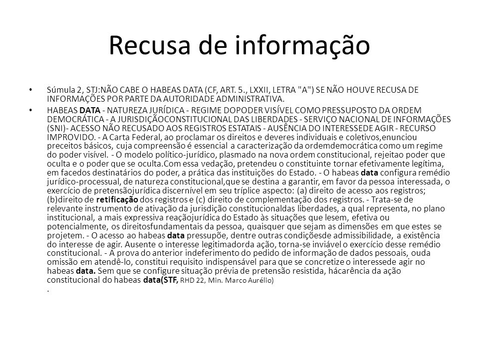 Recusa de informação
