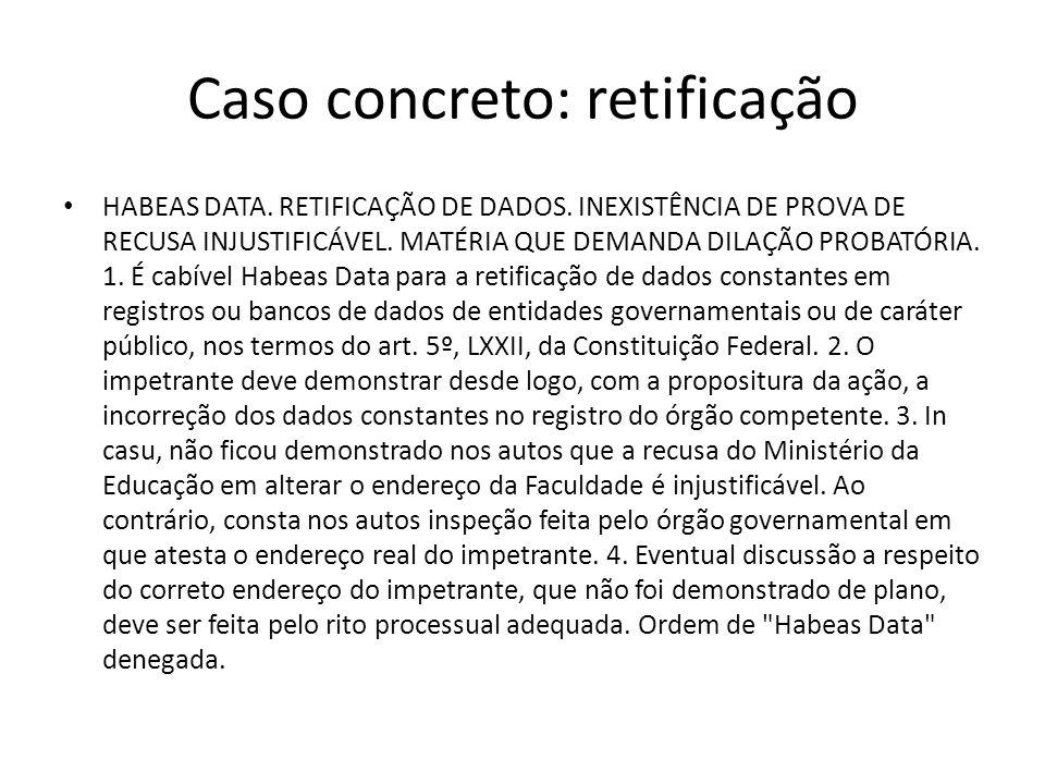 Caso concreto: retificação
