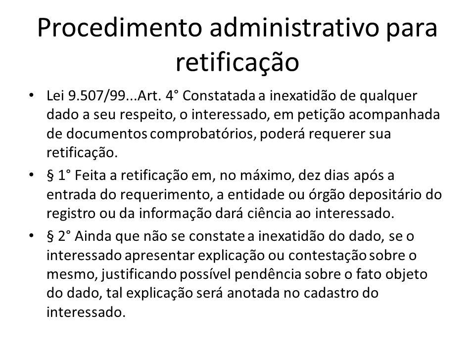 Procedimento administrativo para retificação
