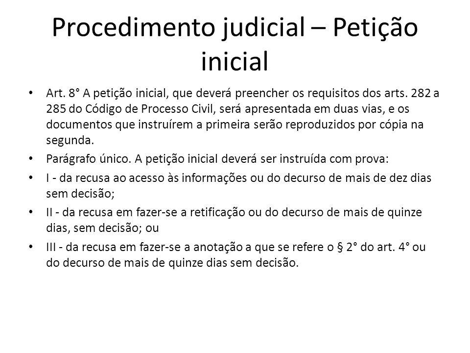 Procedimento judicial – Petição inicial