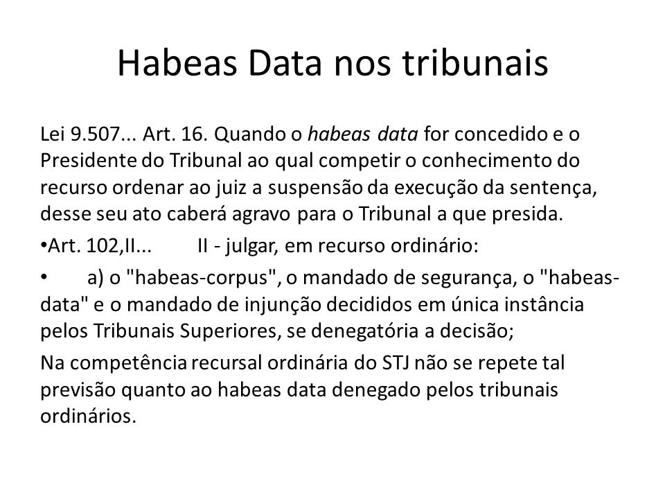 Habeas Data nos tribunais