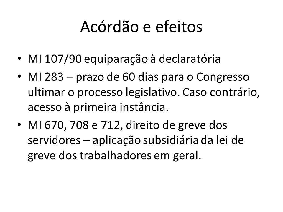 Acórdão e efeitos MI 107/90 equiparação à declaratória