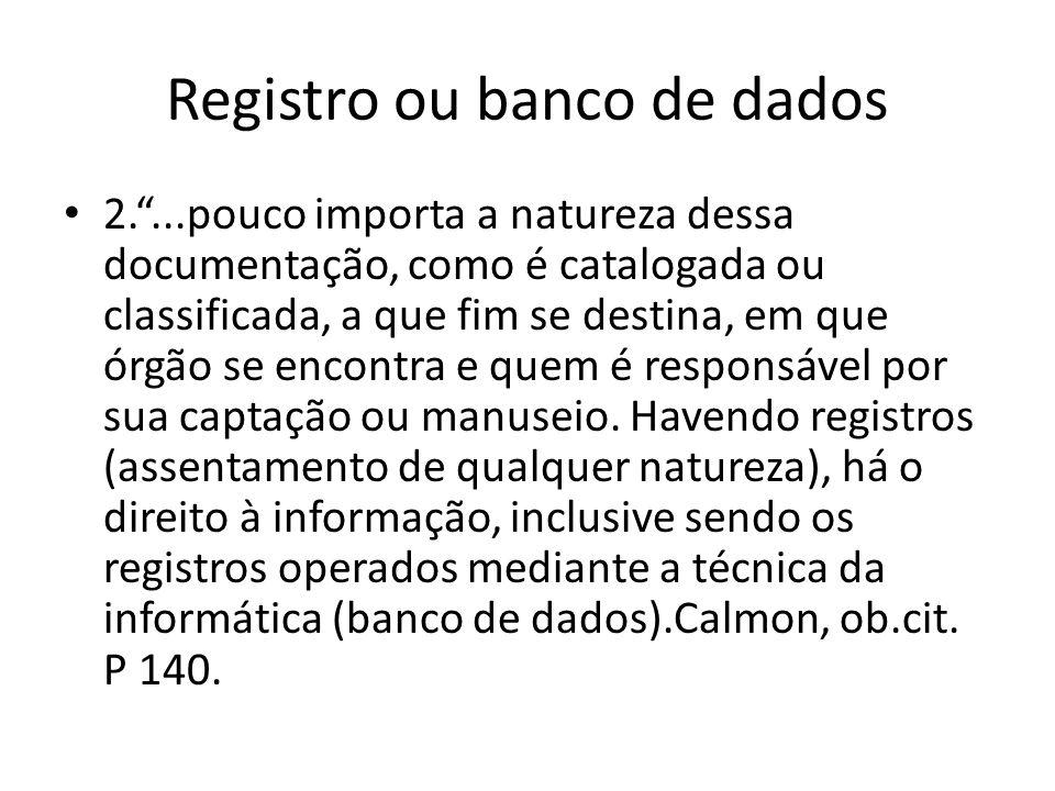 Registro ou banco de dados