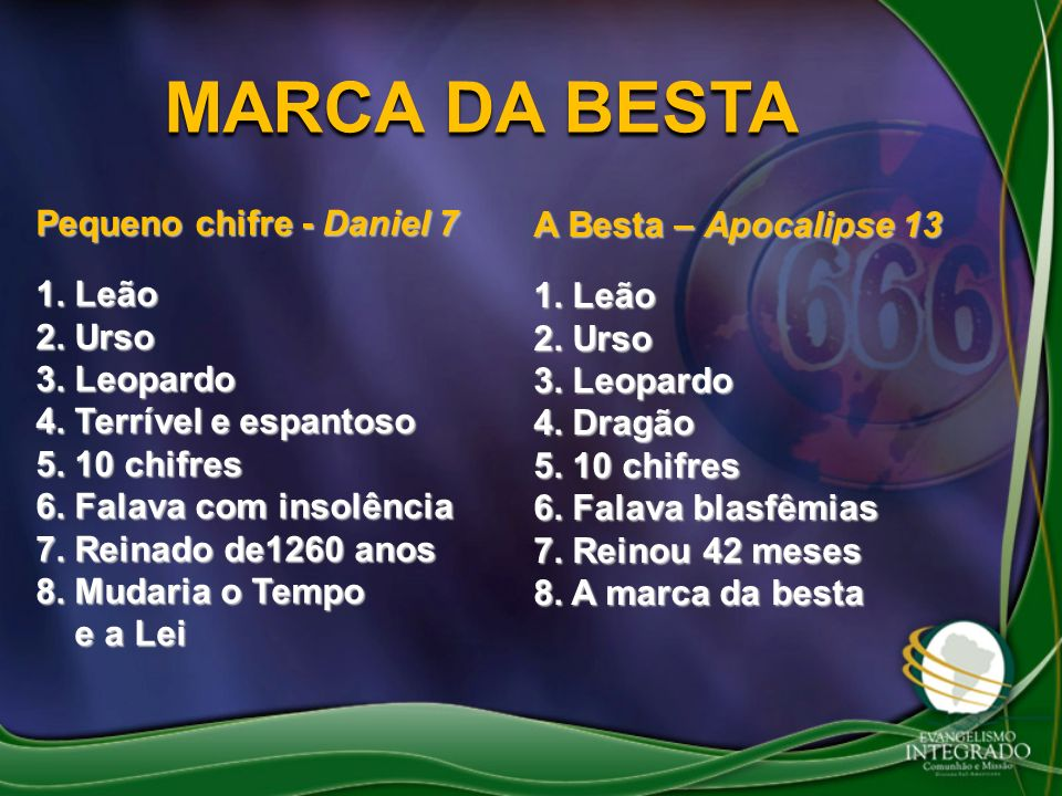 MARCA DA BESTA Pequeno chifre - Daniel 7 A Besta – Apocalipse 13