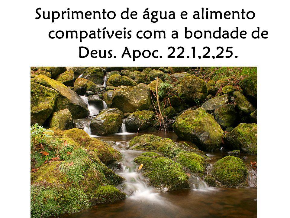 Suprimento de água e alimento compatíveis com a bondade de Deus. Apoc