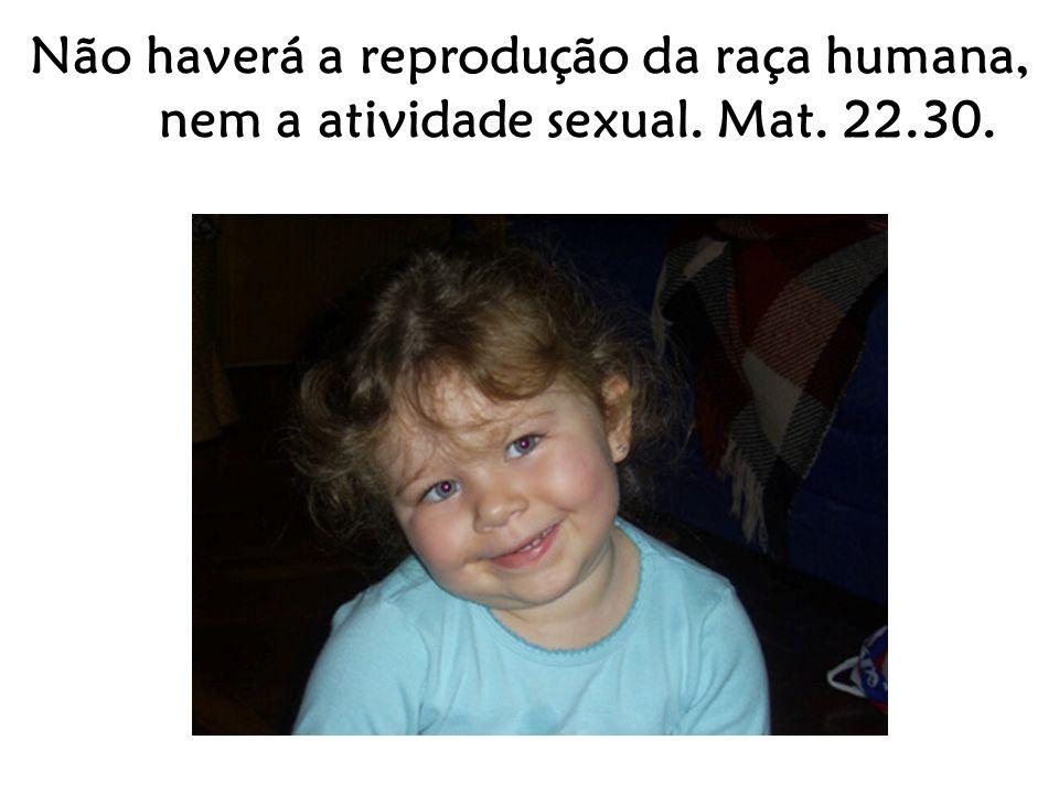 Não haverá a reprodução da raça humana, nem a atividade sexual. Mat. 22.30.