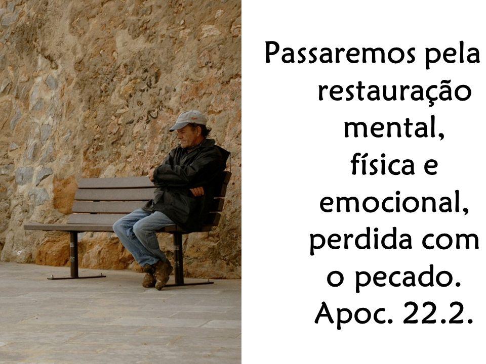 Passaremos pela restauração mental, física e emocional, perdida com o pecado. Apoc. 22.2.