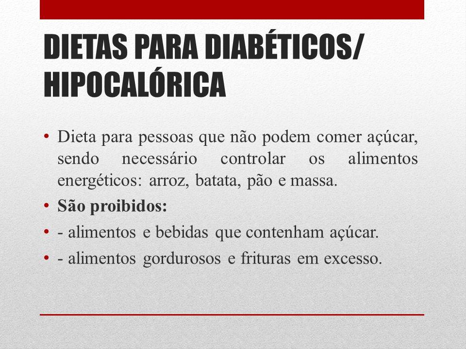 DIETAS PARA DIABÉTICOS/ HIPOCALÓRICA