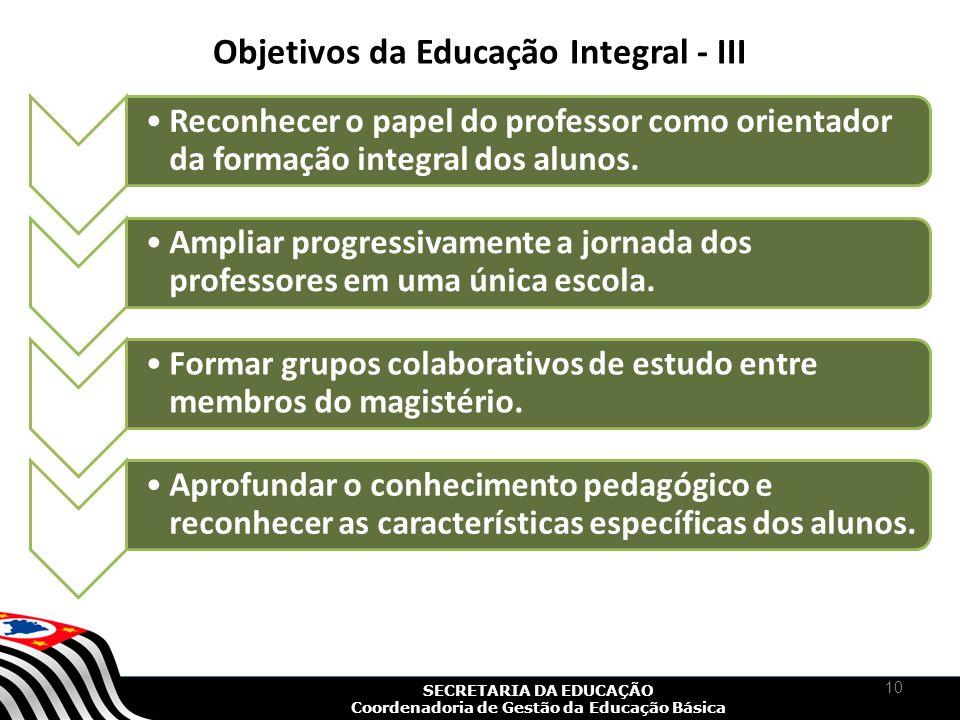 Objetivos da Educação Integral - III