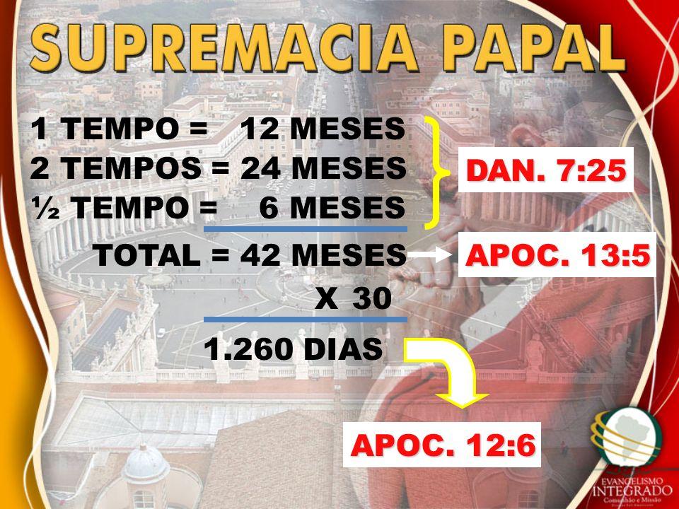 1 TEMPO = 12 MESES 2 TEMPOS = 24 MESES. DAN. 7:25. ½ TEMPO = 6 MESES. TOTAL = 42 MESES. APOC. 13:5.