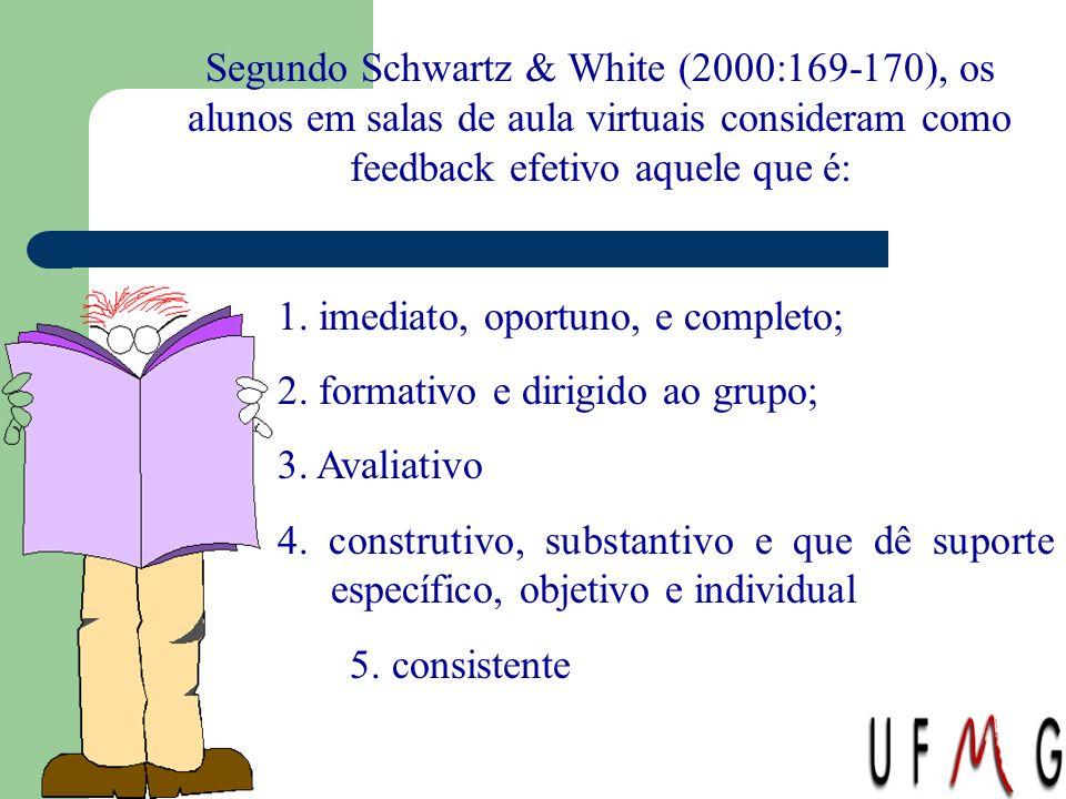 Segundo Schwartz & White (2000:169-170), os alunos em salas de aula virtuais consideram como feedback efetivo aquele que é: