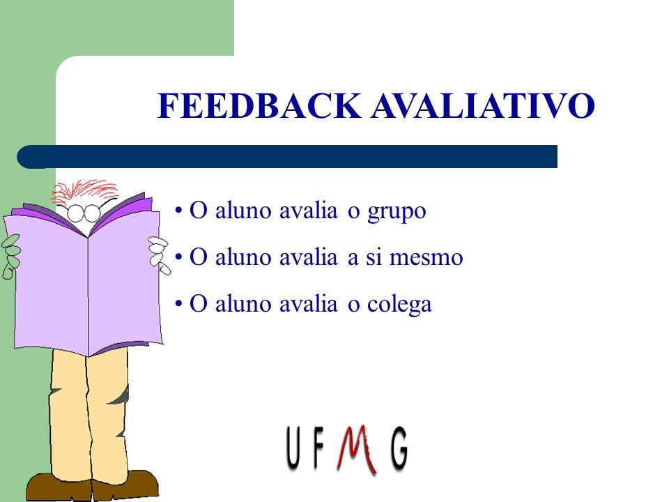 FEEDBACK AVALIATIVO O aluno avalia o grupo O aluno avalia a si mesmo