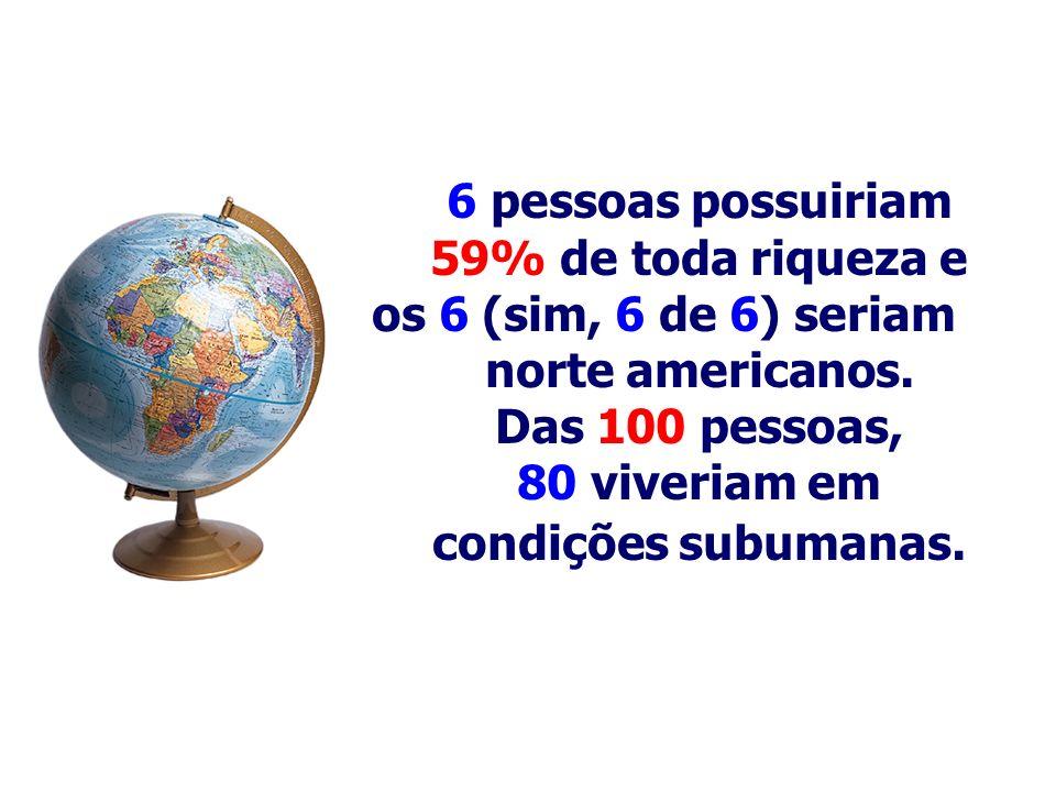 6 pessoas possuiriam 59% de toda riqueza e. os 6 (sim, 6 de 6) seriam. norte americanos. Das 100 pessoas,