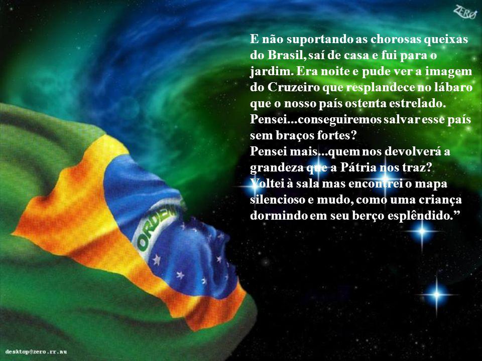 E não suportando as chorosas queixas do Brasil, saí de casa e fui para o jardim. Era noite e pude ver a imagem do Cruzeiro que resplandece no lábaro que o nosso país ostenta estrelado.