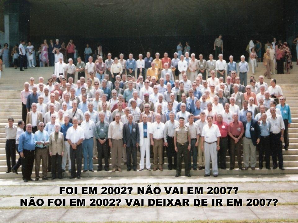 FOI EM 2002 NÃO VAI EM 2007 NÃO FOI EM 2002 VAI DEIXAR DE IR EM 2007