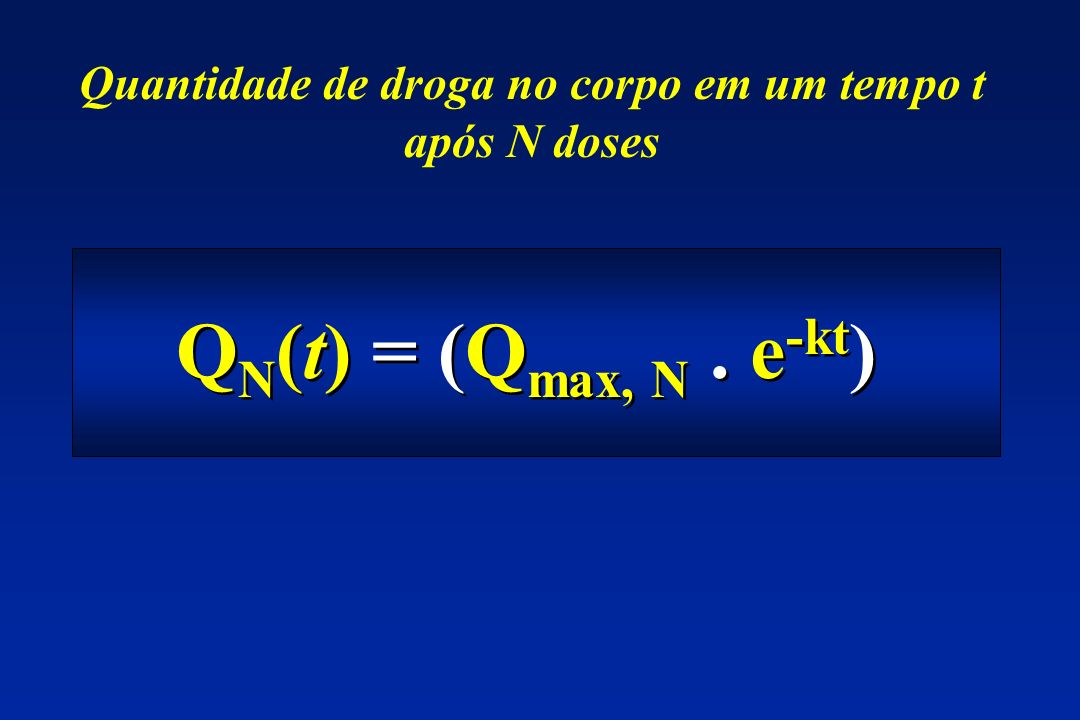 Quantidade de droga no corpo em um tempo t após N doses