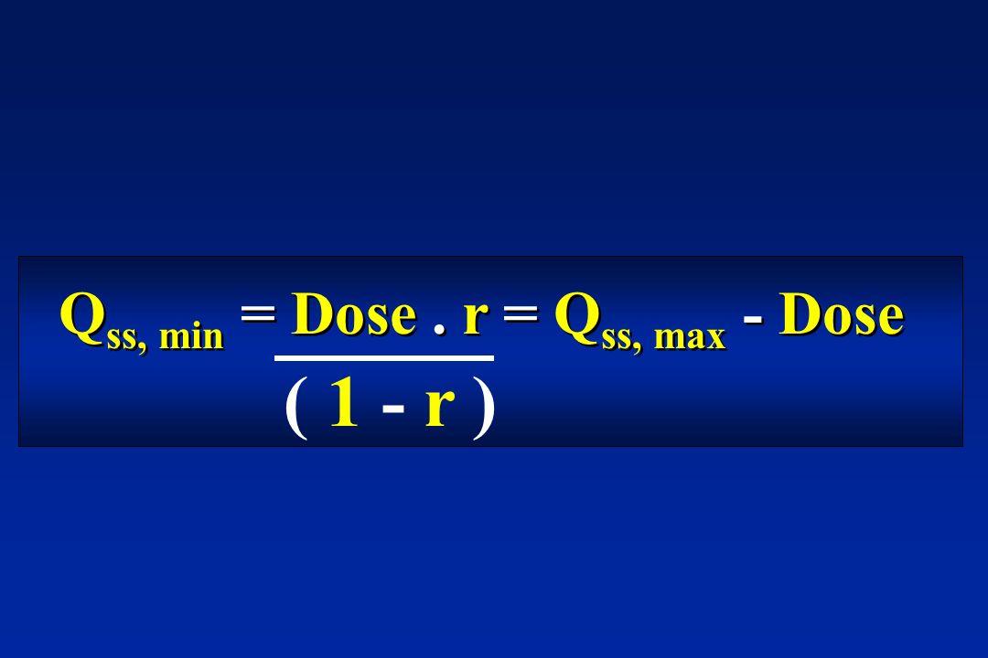 Qss, min = Dose . r = Qss, max - Dose