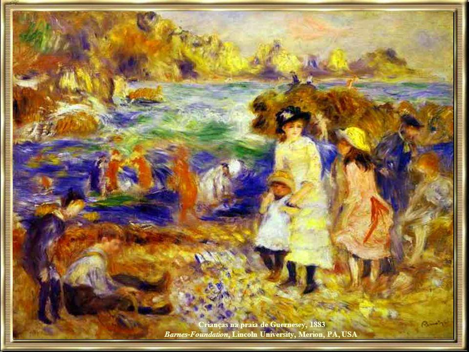 Crianças na praia de Guernesey, 1883 Barnes-Foundation, Lincoln University, Merion, PA, USA