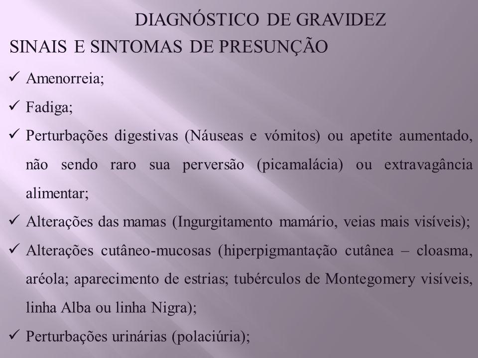 DIAGNÓSTICO DE GRAVIDEZ SINAIS E SINTOMAS DE PRESUNÇÃO
