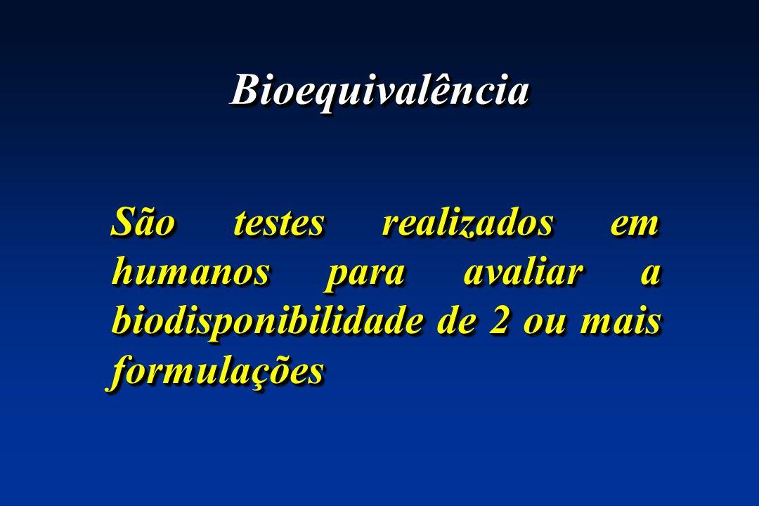 BioequivalênciaSão testes realizados em humanos para avaliar a biodisponibilidade de 2 ou mais formulações.
