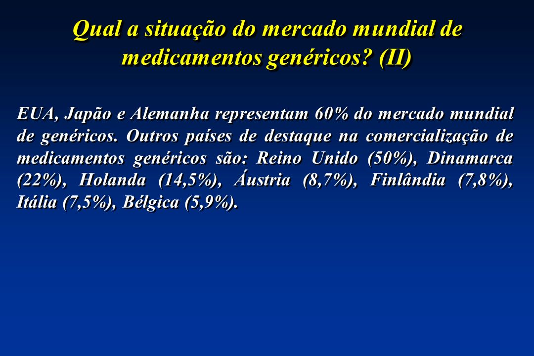 Qual a situação do mercado mundial de medicamentos genéricos (II)