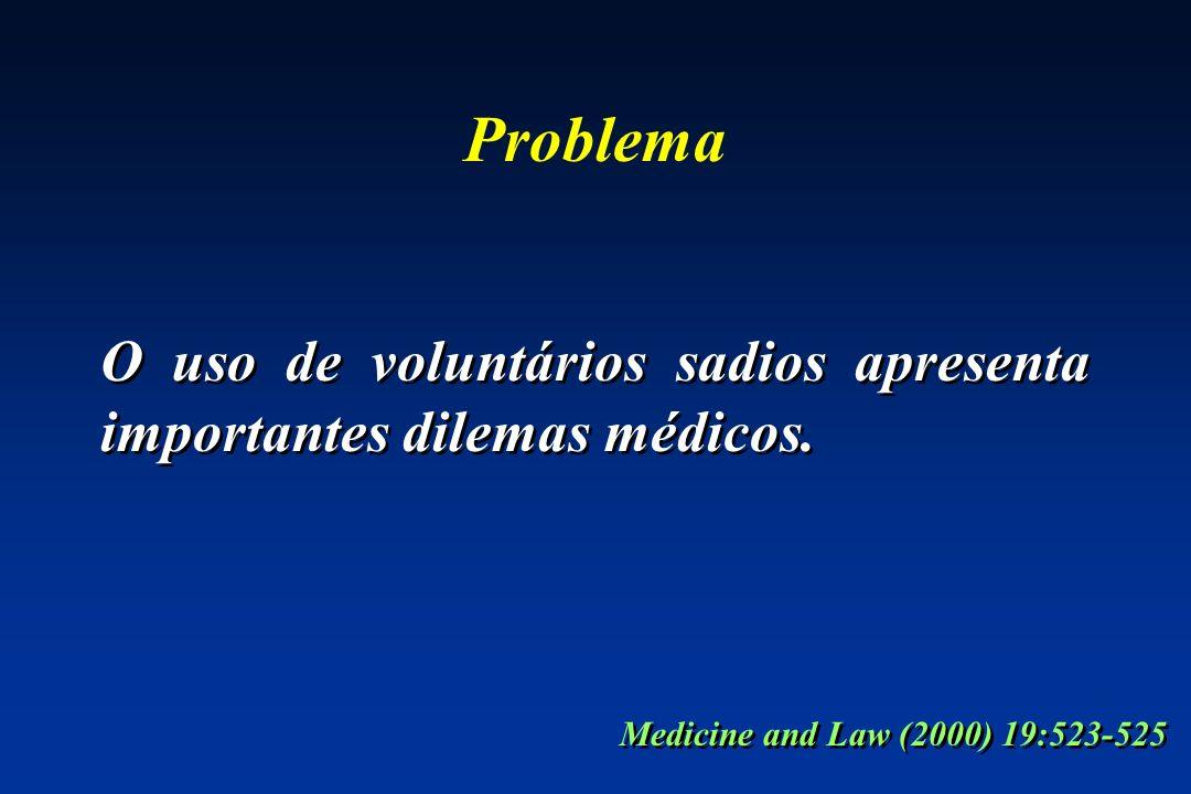 Problema O uso de voluntários sadios apresenta importantes dilemas médicos.