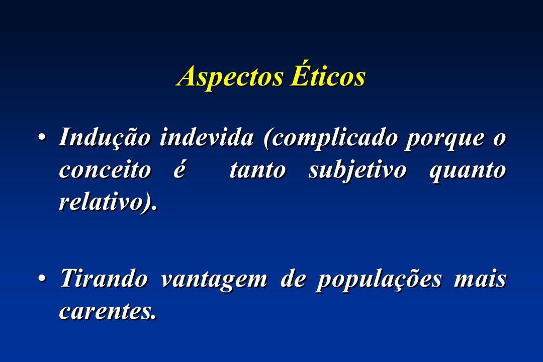 Aspectos Éticos Indução indevida (complicado porque o conceito é tanto subjetivo quanto relativo).