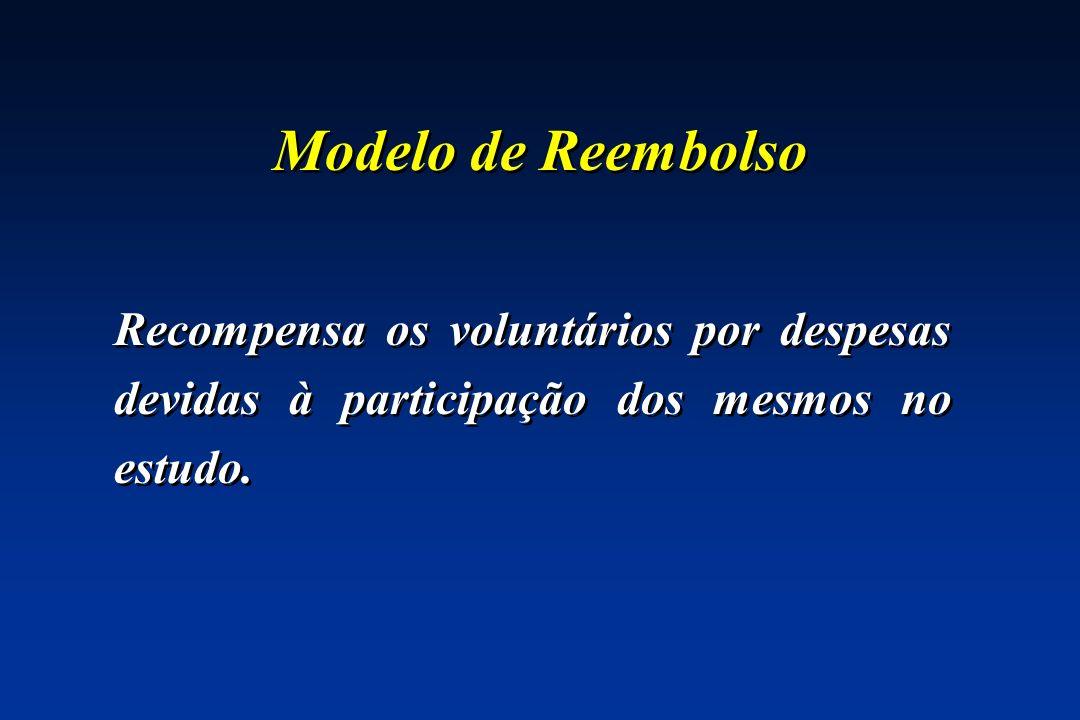 Modelo de Reembolso Recompensa os voluntários por despesas devidas à participação dos mesmos no estudo.