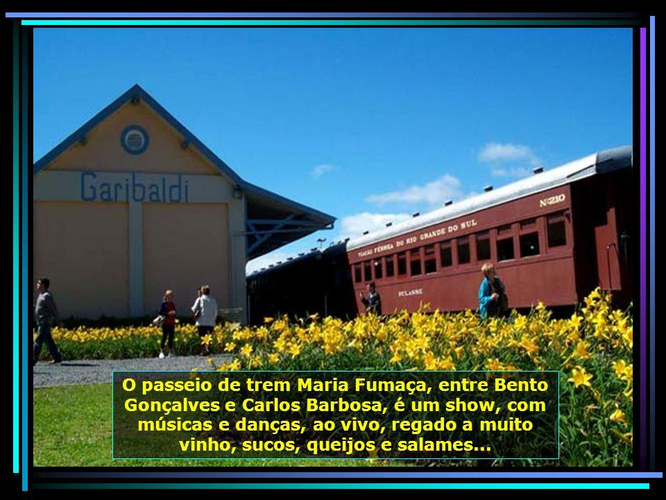 O passeio de trem Maria Fumaça, entre Bento Gonçalves e Carlos Barbosa, é um show, com músicas e danças, ao vivo, regado a muito vinho, sucos, queijos e salames...