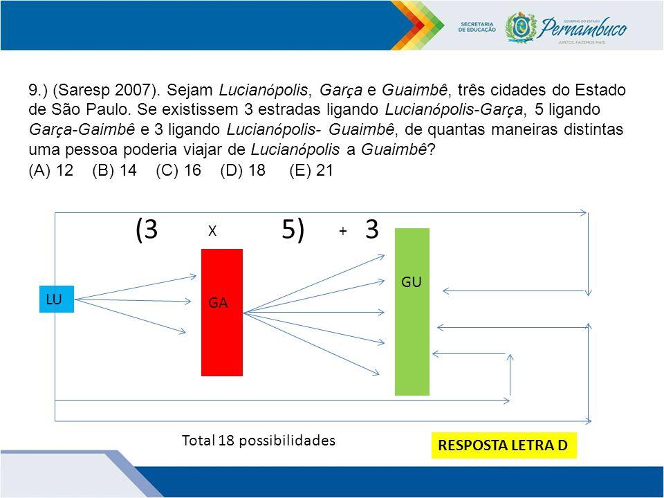 9.) (Saresp 2007). Sejam Lucianópolis, Garça e Guaimbê, três cidades do Estado