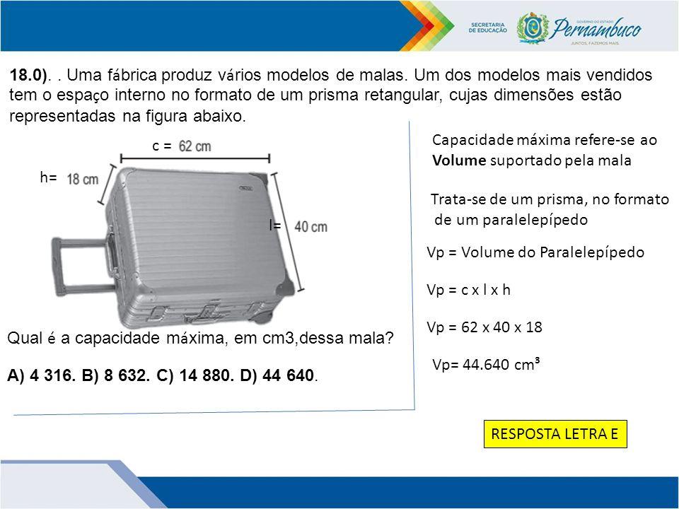 18. 0). Uma fábrica produz vários modelos de malas