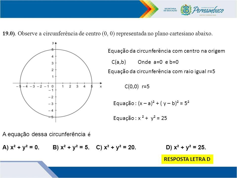 19.0). Observe a circunferência de centro (0, 0) representada no plano cartesiano abaixo.
