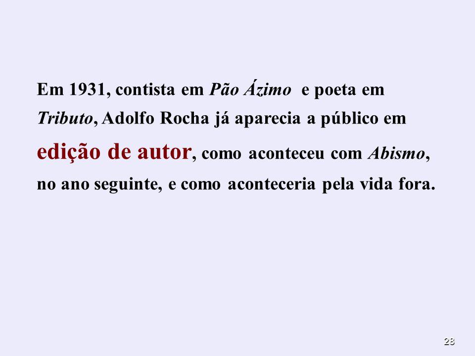 Em 1931, contista em Pão Ázimo e poeta em Tributo, Adolfo Rocha já aparecia a público em edição de autor, como aconteceu com Abismo, no ano seguinte, e como aconteceria pela vida fora.