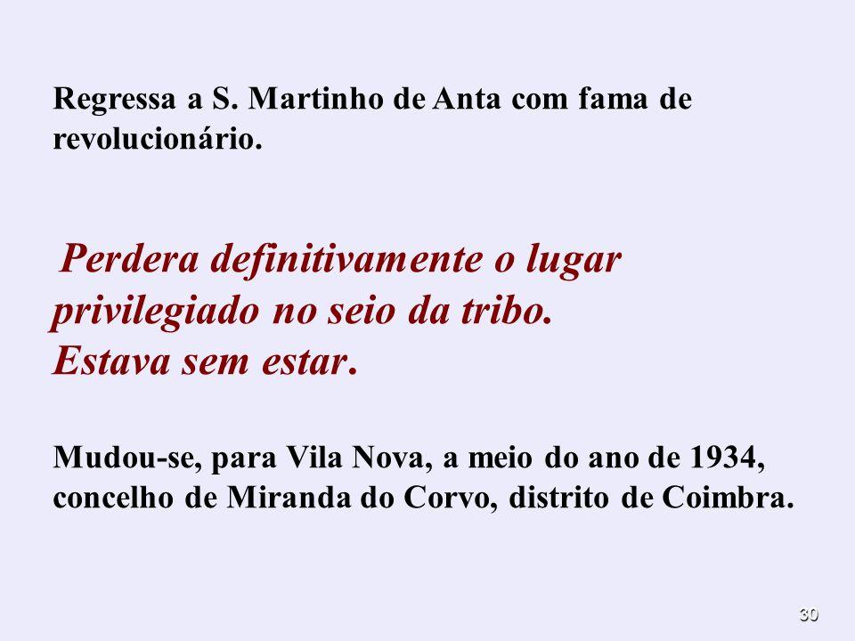 Regressa a S. Martinho de Anta com fama de revolucionário.