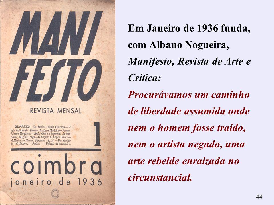 Em Janeiro de 1936 funda, com Albano Nogueira, Manifesto, Revista de Arte e Crítica: