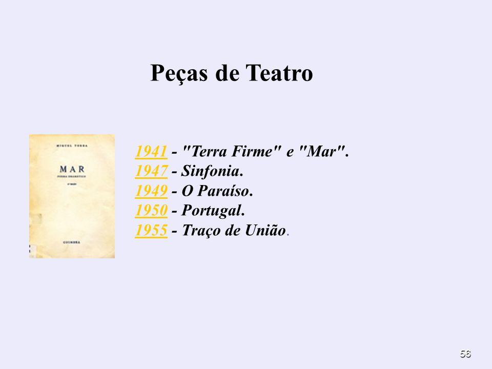 Peças de Teatro 1941 - Terra Firme e Mar . 1947 - Sinfonia.