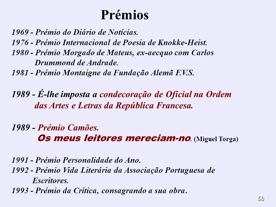 Prémios 1969 - Prémio do Diário de Notícias. 1976 - Prémio Internacional de Poesia de Knokke-Heist.