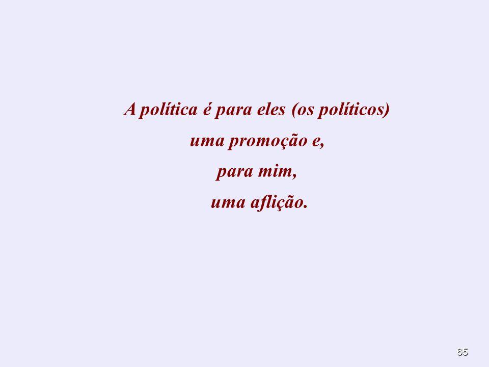 A política é para eles (os políticos) uma promoção e, para mim, uma aflição.