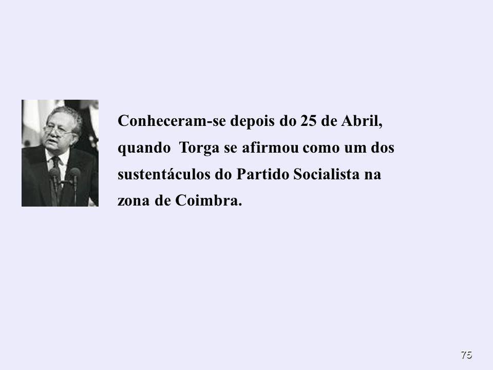 Conheceram-se depois do 25 de Abril, quando Torga se afirmou como um dos sustentáculos do Partido Socialista na zona de Coimbra.