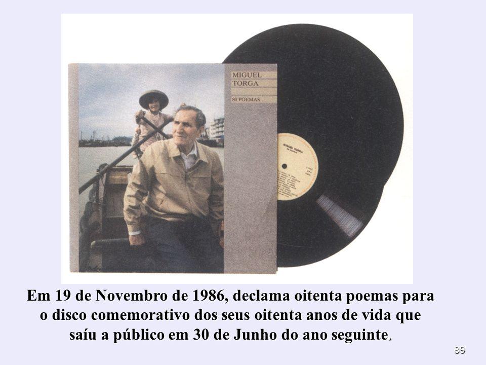 Em 19 de Novembro de 1986, declama oitenta poemas para o disco comemorativo dos seus oitenta anos de vida que saíu a público em 30 de Junho do ano seguinte.